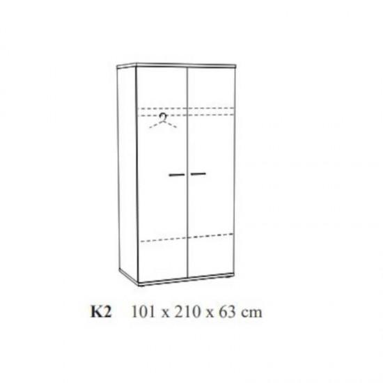 Riidekapp Hanna 100 cm (tamm)