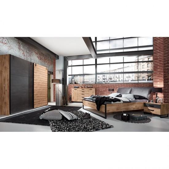 Voodi Detroit 160x200 cm (tammeplank/must)