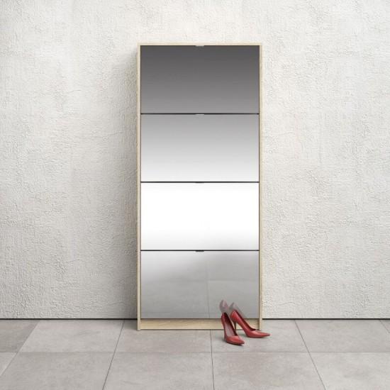 Jalanõudekapp Shoes peegel (valge/tamm)